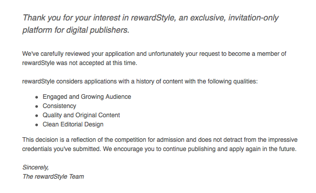 RewardStyle Rejection Letter